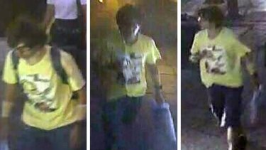 A montage released by Royal Thai Police shows a man wearing a yellow T-shirt near the Erawan Shrine before and after the explosion in the Erawan Shrine in Bangkok.