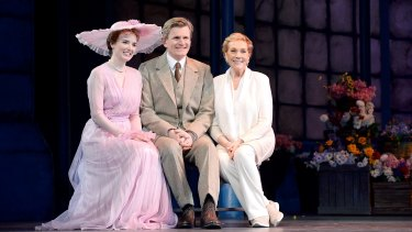 Julie Andrews (right) with Anna O'Byrne and Charles Edwards, who play Eliza Doolittle and Charles Edwards in My Fair Lady.