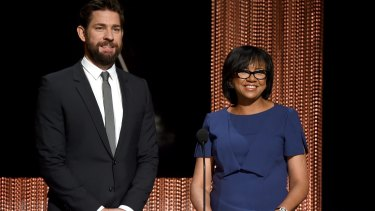 Academy of Motion Picture Arts and Sciences president Cheryl Boone Isaacs (right) announces the Oscar nominees with actor John Krasinski.