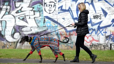 Bridget Dominic and her greyhound Rivers join the rally in Newtown on Sunday.