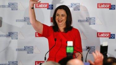 Confident: Premier Annastacia Palaszczuk thanks supporters on Saturday night.