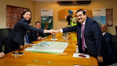 Queensland Premier Annastacia Palaszczuk with Indian billionaire Gautam Adani.
