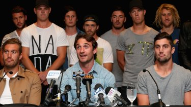 October hearing: Jobe Watson and Essendon teammates at a press conference after  they were cleared by the AFL Anti-Doping Tribunal in March.