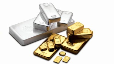 The gold and silver bullion bar range at the Perth Mint.
