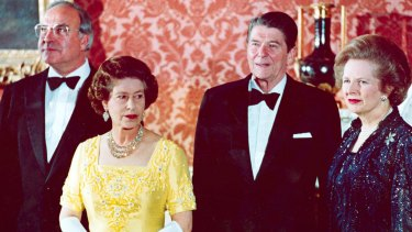Then West German Chancellor Helmut Kohl, Queen Elizabeth II, then US President Ronald Reagan and Britain's Prime Minister Margaret Thatcher at Buckingham Palace in 1984.