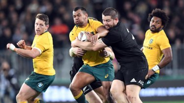 Almost: Kurtley Beale was nearly Australia's hero, scoring a try in the 76th minute.