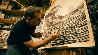 Shepard Fairey at work.