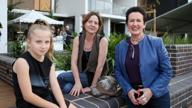 Clover Moore with Vanessa and Annemiek Owens at a welcome party for the first residents to move into the Green Square town centre.