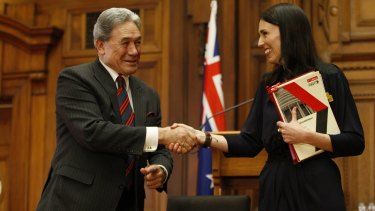Winston Peters, left, and Jacinda Ardern after signing their coalition agreement on Tuesday.
