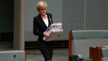 Foreign Minister Julie Bishop in Parliament. She will attend the second week of the talks.