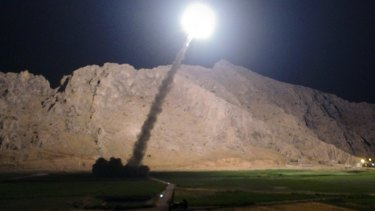 A missile is fired from city of Kermanshah in western Iran targeting the Islamic State group in Syria in June.