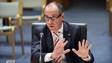 Andrew Thorburn, chief executive officer of National Australia Bank, speaks at a parliamentary hearing.