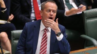 Opposition Leader Bill Shorten during question time on Thursday.