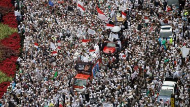 Thousands of people attend a protest against Jakarta governor Basuki Tjahaja Purnama, widely known as Ahok, in December.