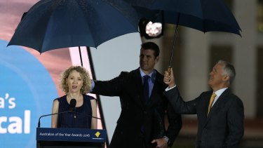 Catherine Keenan with Prime Minister Malcolm Turnbull and Ben Roberts-Smith.