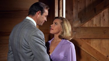 James Bond (Sean Connery) and Pussy Galore (Honor Blackman in <i>Goldfinger</i>.