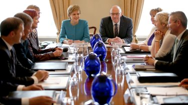 Nicola Sturgeon chairs an emergency meeting of Scotland's cabinet on Saturday.