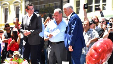 Premier Daniel Andrews (left), lord mayor Robert Doyle and Prime Minister Malcolm Turnbull in the Bourke Street Mall on Sunday.