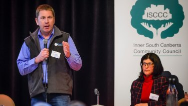 Capital Recycling Solutions director Adam Perry and Inner South Canberra Community Council (ISCCC) chair Marea Fatseas at a community meeting discussing the proposed Fyshwick recycling plant in August.