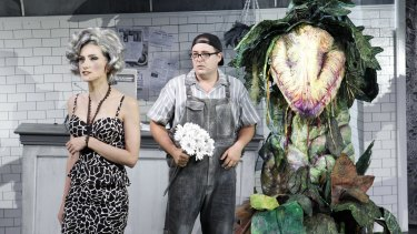 Esther Hannaford, Brent Hill, and Audrey II in Little Shop of Horrors.