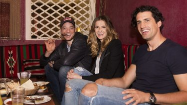 Hamish Blake and Andy Lee with Kate Waterhouse at Abdul's in Surry Hills. The long-term friends describe their drive-time radio show  as a conversation.