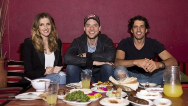 Kate Waterhouse with Hamish Blake and Andy Lee at Abdul's in Surry Hills. There has been a lot of luck involved their success, the pair say.