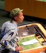 Pharrell Williams addresses the General Assembly during International Day of Happiness.