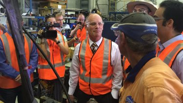 With the workers: Premier Campbell Newman on the campaign trail in Mackay on Saturday.