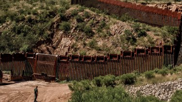 The border between United States and Mexico on the outskirts of Nogales, Arizona.
