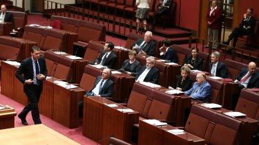 Several government senators side with senator Cory Bernardi during a division.