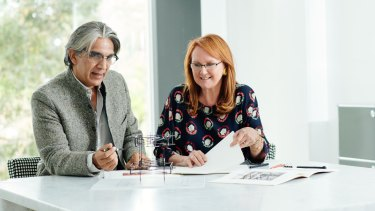 Indian architect Bijoy Jain and MPavilion founder Naomi Milgrom.