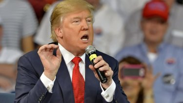 Channeling the rage: Donald Trump speaks at a town hall meeting on the University of South Carolina.