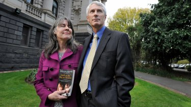 Chrissie and Anthony Foster after a hearing of the parliamentary inquiry.