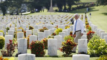 Prime Minister Malcolm Turnbull during a visit to the Bomana War Cemetery on Saturday.