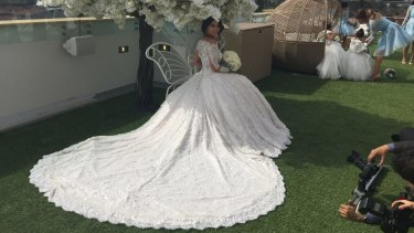 The dress contained almost 400 metres of fabric, according to designer Natalie Georgys.