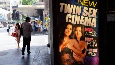 Crazy Horse sex shop and cinema on Elizabeth Street.