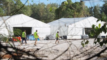 "A photo from the newly-cleared ""refugee processing centre 3"" in Nauru, where family groups are being accommodated."