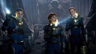 Danger lurks ... Logan Marshall-Green, Noomi Rapace and Michael Fassbender in <em>Prometheus</em>.