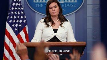 Deputy White House press secretary Sarah Huckabee Sanders addressing the media on Thursday.