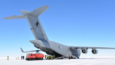 "Globemaster on ice: An RAAF heavy-lift aircraft takes on a ""patient"" in a med-evac exercise."