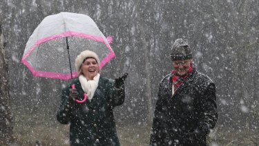 Snow fell at Mount Macedon last month. More snow was expected as low as 300 metres on Tuesday night.