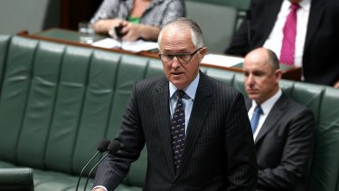 Communications Minister Malcolm Turnbull speaks on the bill in Parliament on Thursday.