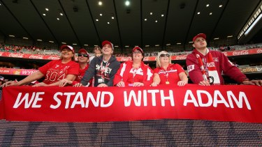 Our man: Fans show their support for Adam Goodes at the SCG on Saturday.