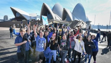 Pokemon Go fans meet at the Opera House on Sunday.