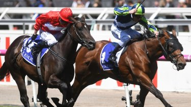 Emotional win: Mark Zahra rides Merchant Navy to victory in the Coolmore Stud Stakes.