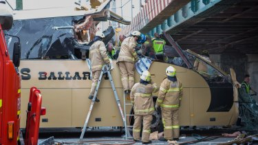 The bus slammed into the Montague Street bridge on February 22.