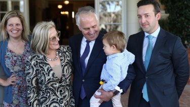 Malcolm Turnbull with wife Lucy, daughter Daisy and son-in-law James Brown at Government House last year. Sally Cray is close to the family.