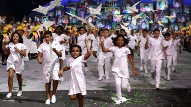 Young children take part during the Opening Ceremony of the Rio 2016 Olympic Games