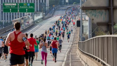 The route takes runners along the Cahill Expressway on the way to the finish line.