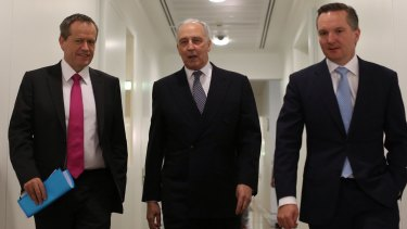 No more speculation: Bill Shorten with Paul Keating and Chris Bowen.